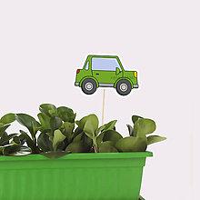 Dekorácie - Zápich do kvetináča auto s obrysmi - 10649546_
