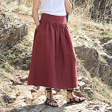Sukne - Ľanová sukňa Lesana bordová - 10651073_