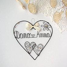 Dekorácie - svadobné srdce 15cm (Biela) - 10650748_