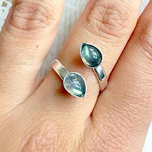 Prstene - Double Labradorite Teardrop AG925 Ring / Strieborný prsteň s labradoritmi - 10650645_