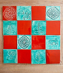 Dekorácie - Keramické kachličky- lesná zmes - 10651036_