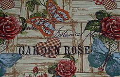 Textil - Látka Jacquard Záhradné ruže - 10652114_