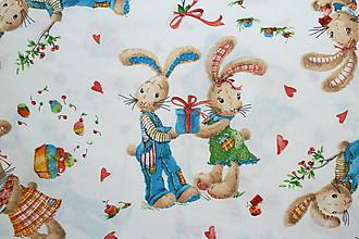 Textil - Látka Zaľúbení zajkovia - 10651107_