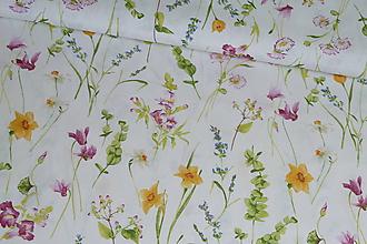 Textil - Látka Lúčne kvety na režnej bielej - 10652103_
