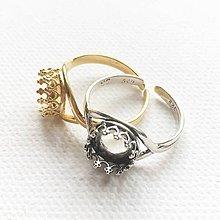 Komponenty - patinovaný/pozlátený strieborný univerzálny prsteň s ozdobným lôžkom 8 mm, Ag 925 - 10650313_