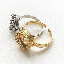 Komponenty - patinovaný/pozlátený strieborný univerzálny prsteň s ozdobným lôžkom 10 mm, Ag 925 - 10650344_