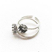 Komponenty - patinovaný strieborný univerzálny prsteň s ozdobným lôžkom 6 mm, Ag 925 - 10650356_