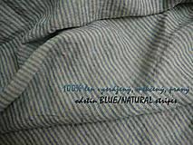 Textil - odstín BLUE/NATURAL stripes...100% len, š.163cm - 10651664_