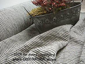 Textil - odstín grey/NATURAL stripes...100% len, š.163cm - 10651663_