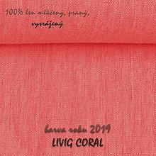 Textil - LIVING CORAL barva roku 2019...100% len metráž - 10651683_