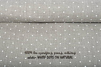 Textil - WHITE DOTS ON NATURAL...100% len metráž - 10651685_