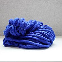 Galantéria - Superhrubá pletacia priadza Kobaltovo modrá vlna 250g - 10651408_