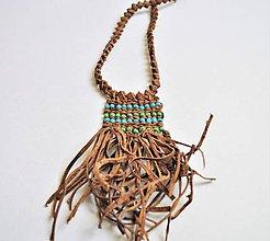 Náhrdelníky - Etnický kožený náhrdelník, Letný náhrdelník - 10652269_