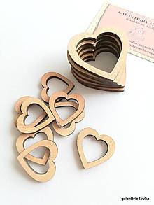 Polotovary - drevený výrez duté srdiečko 3cm - 10650405_