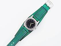 Náramky - Dámsky zelený remienok, pravá koža - 10651916_