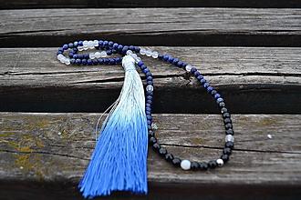 Náhrdelníky - Lapis lazuli so strapcom náhrdelník - 10651339_