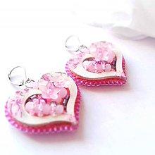 Náušnice - Ružové srdce - 10650433_
