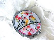 Zrkadielka - Zrkadielko s vtáčikmi na čerešni - 10651313_