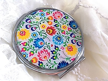Zrkadielka - Zrkadielko s folklórnym vzorom v guľatom tvare - 10651326_