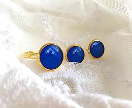 Sady šperkov - Sada šperkov v zlatej farbe v parížskej modrej - 10651941_