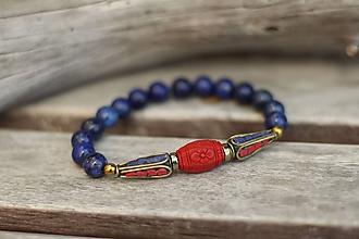 Náramky - Náramok lapis lazuli, cinnabar a korálky z Nepálu - 10650351_