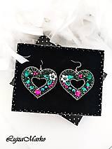 Náušnice - Zelené srdcia náušnice - 10651464_