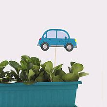 Detské doplnky - Zápich do kvetináča auto bez obrysov - 10650348_