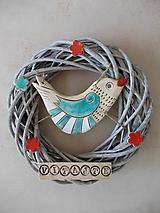 Dekorácie - Veniec s keramickým vtáčikom- modrý 2 - 10654109_