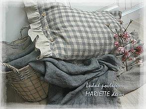 Úžitkový textil - Lněné povlečení FRENCH grey/NATURAL checks - 10653823_