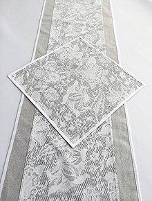 Úžitkový textil - stredový obrus sivý - 10654118_