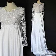 Šaty - Svadobné šaty pre tehotnú nevestu s dlhým rukávom - 10652601_