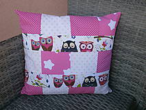 """Textil - """"Ružové sovičky"""" vankúšik - 10653589_"""