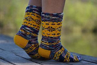 Obuv - farebné ponožky s nórskym vzorom ( v.39-40) - 10653231_
