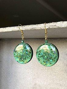 Náušnice - Zelené trblietavé visiace kruhy - 10655929_