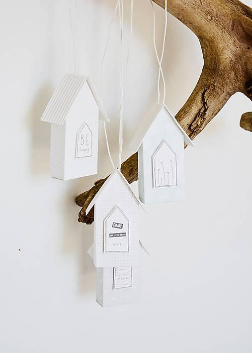 Závesné domčeky - mint/sivá