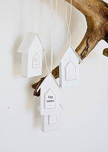 Dekorácie - Závesné domčeky - mint/sivá - 10655118_