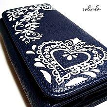 Peňaženky - Modrotisk se srdcem - 10654533_