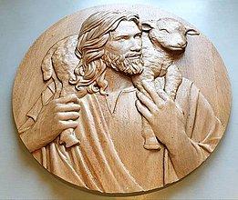Grafika - Drevorezba Ježiš Dobrý Pastier - 10655570_