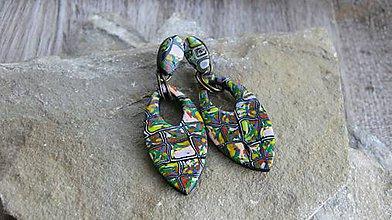 Náušnice - Mozaikové klimtové náušnice napichovacie (č. 2619) - 10654552_