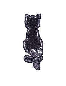 Galantéria - Nažehľovačka Čierna mačka s mašľou - 10655308_