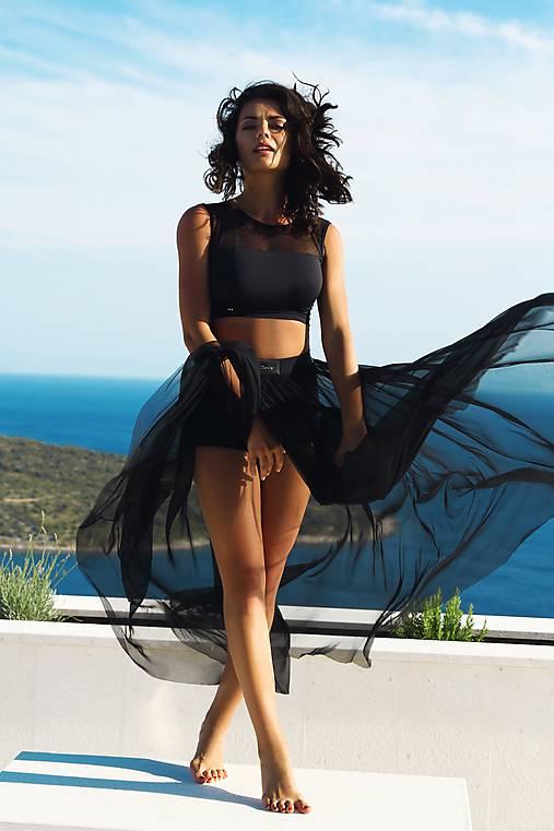 Sieťková dlhá sukňa so šortkami čierna