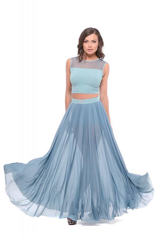 Sieťková dlhá sukňa so šortkami modrá