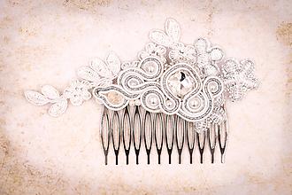 Ozdoby do vlasov - Hrebienok s krajkou - 10655763_