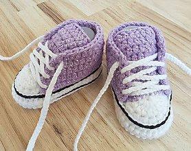 Topánočky - Lesklé fialové tenisky - 10656947_