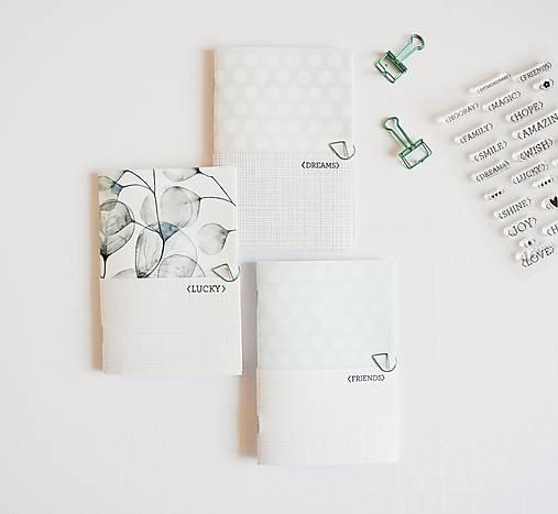 3 zápisníky - eukalyptus/mint/grey