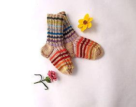 Topánočky - Detské ponožky dúhové merino - 10656511_