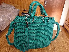 Kabelky - háčkovaná kabelka smaragdová - 10657057_