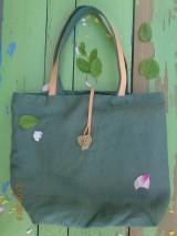 Veľké tašky - Veľká ľanová taška-srdiečko - 10656747_