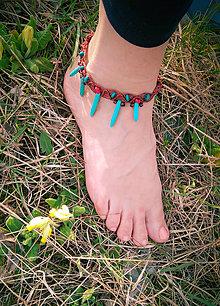 Iné šperky - ozdoba na nôžku Koral + Tyrkenit - 10656215_
