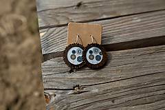 Náušnice - Naušky živicové-drevené kvietky - 10656432_